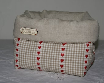 Fabric basket Organizer quilted beige gingham and Red hearts