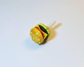 Miniature Yummy Cheese Hamburger Dust plug, Keychain or Phone charm, Fadt food, Hamburger,