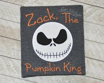 Custom Nightmare Before Christmas Shirt. Jack the Pumpkin King. Jack Skellington Birthday Shirt. Personalized Tim Burton Shirt. Jack Sally