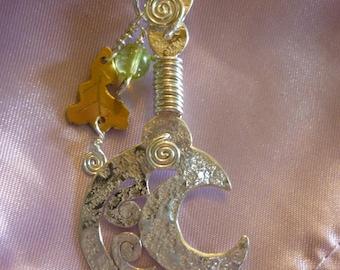 Spring Oak Sickle / Sycle Pendant, Jewellery Squarehare Free Shipping Vegan UK, Druid Celtic Britannia Merlin Albion silver Avalon Bridal