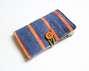 Costal Orange Blue Stripes Fabric Business Card Holder, with Anchors Costal Blue  - Credit Card Holder, Cloth Card Holder, Gift Card Holder