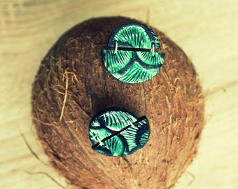 Pearl green &black stud earrings. Polymer clay