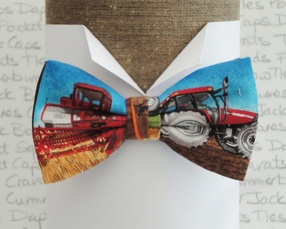Bow tie, bow ties for men, tractor and combine harvester bow tie, pre tied bow tie