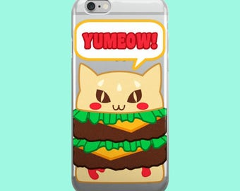 Kawaii Yumeow Cat Burger Clear Plastic Phone Case for iPhones - Kitty Hamburger Cheeseburger