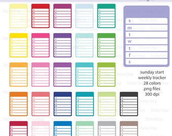 Sunday Start Weekly Plans or Weekly Planner Digital Clipart - Instant download PNG files