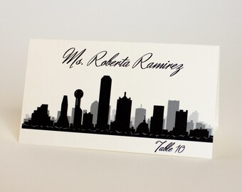 Dallas Place Card City Skyline Handmade Custom Name Card Escort Wedding Bridal Other Cities Available