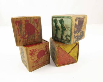 Primitive Wood Block Letters - Four Vintage 1920s Wood Blocks - Worn and Weathered - Shelf Art - Stack or Stand - Designer Pieces