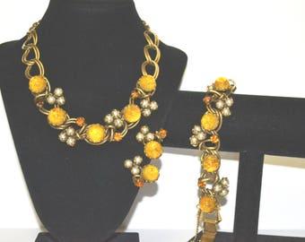 Dior Attributed Vintage Art Glass Necklace Bracelet Earring Set