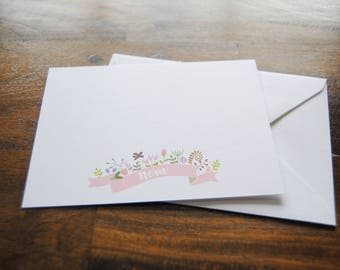 Kids Stationery Set, NORA, Floral Notecard Set, Custom Notecards, Personalized Notes, Girl Gift Ideas, Thank You Cards Set, Cute Stationery