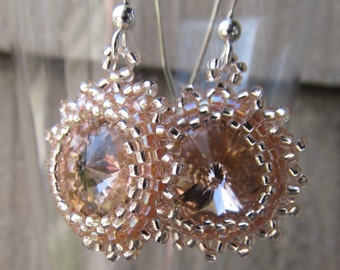 Vintage Rose Beaded Rivoli Swarovski Crystal Earrings