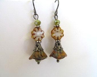 Neo Victorian Flower Earrings, Vintage Botanical, Gunmetal Shabby Chic, Bohemian Earrings, FTD Awareness