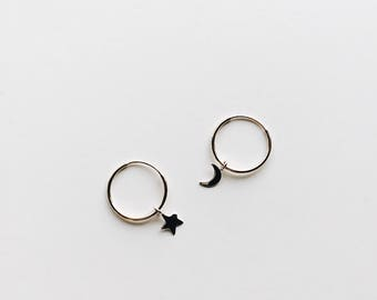 MOON & STAR GOLD hoops // 14k solid yellow gold hoop // star and moon charm hoop earrings // 15mm gold hoops minimalist gold and silver