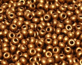 20gr 8/0 Czech Glass Seed Beads, Brass Gold (8SB055)