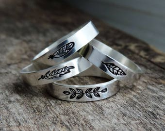 Sterling Silver Stacking Ring Band | Flat Stax - Feather & Leaf | Choose Design, Guinea, Eagle, Plume, Laurel, Custom // Made to Order