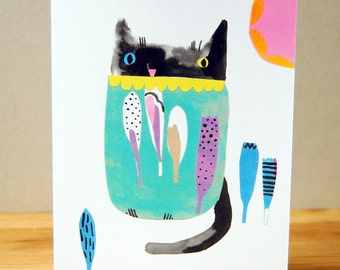 Blank Cat Card - Paper Collage- Digital Print - Anytime Card - Humorous Card - Cat Lover All Purpose Card