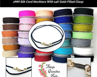 2MM Silk Cord Necklace With Gold-Filled Findings - 35 Colors, Any Length