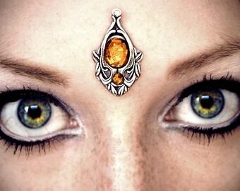 Firefly Bindi, tribal bindi, boho bindi, tribal fusion bindi, bellydance bindi, silver bindi, reusable bindi, bindi jewelry, face jewel