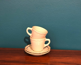 Vintage Syracuse China Coffee Cups w/ Saucers