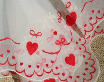 Vintage Valentine Hankie Red Flocked Hearts and Bows