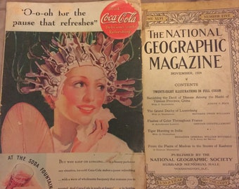 Free shipping National Geographic 1924 1935 two issues junk journal ephemera advertising Coca Cola
