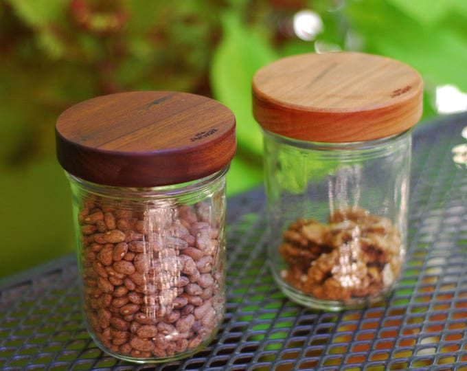 3 Wooden Mason Jar Lids with Seal - True screw top - Wide Mouth - Your Choice of Wood.