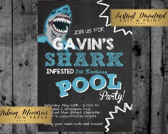 Shark Attack Birthday Editable Invitation - Shark Birthday Party Invitation, Pool Party, Shark Pool, INSTANT DOWNLOAD, print yourself