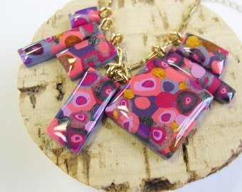 Color Pop! Charm Pendant Necklace   Pink & Gold   Statement