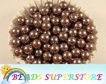 12 mm Hazelnut Brown Pearl Bubblegum Round Bead - Gumball Bead - Acrylic Chunky Bead - 20 pcs (12CHP43)