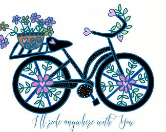 Bicycle Art 5x7 Greeting Card on Fine Art Paper