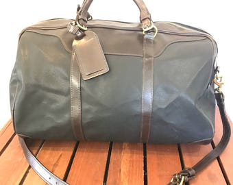 MULHOLLAND Authentic Duffle Bag Black Canvas and Brown Leather Trim Duffel Bag Travel Bag