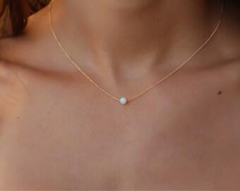 Opal jewelry, white opal necklace, opal rose gold necklace, opal necklace, tiny dot necklace, opal bead necklace, dot necklace