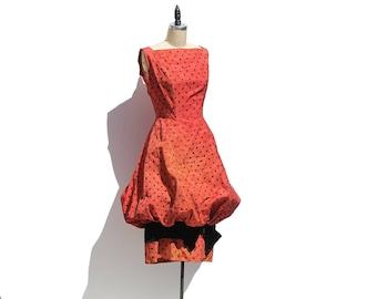 Vintage Red Taffeta Sleeve Less Dress
