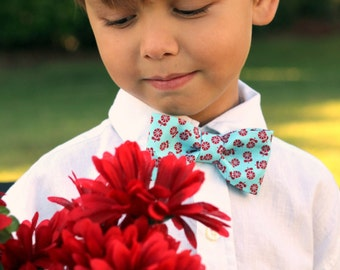 Boys blue red floral bow tie, boy's flower cotton bowtie, baby boy bow tie, toddler bow tie, boys bow tie, floral boys wedding bow tie, gift