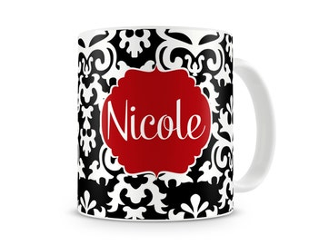 Vintage Damask Personalized Coffee, Hot Chocolate Mug, 11 oz Ceramic Coffee Mug,15 oz Ceramic Coffee Mug, Custom Monogrammed Mug, Floral Mug