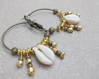 Earrings Bohemian sea shell