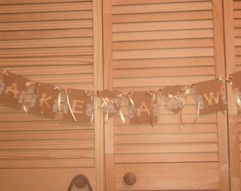 Vintage Hand Made Baby Shower Banner Make A Wish Baby Shower Banner, Vintage Baby Shower Banner  Make A Wish Banner Tags