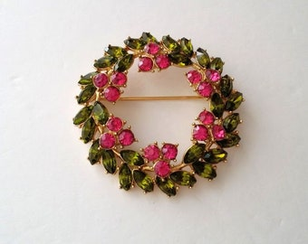 1970's Crown Trifari Alfred Philippe Gold Plated Floral Wreath Brooch
