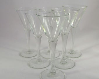 Vintage Set Of 6 Cordial Glasses From The 1970's #298