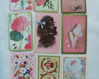 9 Playing cards, Pink Playing cards, Antique Playing Cards, Vintage Playing Cards, Playing card Swap