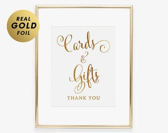 Cards & Gifts GOLD FOIL PRINT Wedding Sign Reception Signage Poster Wedding Decor Calligraphy Gift Table Sign Card Table D35