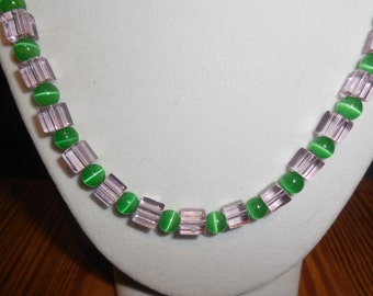 Green Cat's Eye & Pink Cubes Necklace