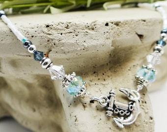 Anchor Necklace Blue Necklace Anchor Gift Nautical Necklace Nautical Wedding Nautical Jewelry Anchor Jewelry Summer Jewelry Beach Necklace