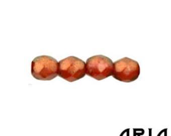 HALO CARDINAL: 4mm Faceted Round Firepolish Czech Glass Beads (50 beads per strand)