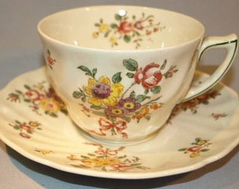 Royal Doulton Old Leeds Spray New Shape Breakfast Cup and Saucer