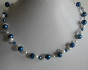 Bridal twist necklace Royal Blue and white beads