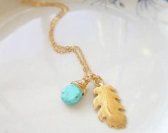 Blattgold-Halskette, Leaf Kette, Blatt Anhänger, Türkis-Anhänger, Türkis Halskette, Gold-Schmuck