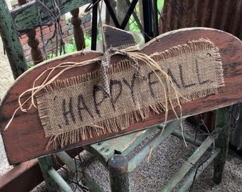 HAppy fall hanging pumpkin Primitive FAll Sign