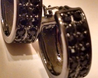 Monet Black Rhinestone Hoop Earrings,Signed Monet, For Her,Black Earrings, Accessories,Monet Earrings, Vintage Monet,Jewelry,Vintage Monet