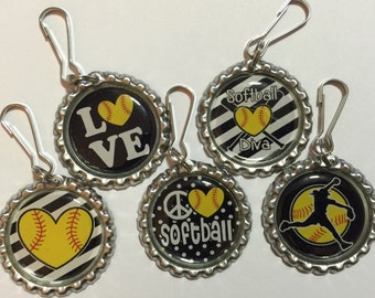 Set of 15 Softball Zipper Pulls available in different colors as well