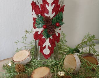 Christmas Decorative Vase - Burlap & Lace - Christmas Ornament - Rustic Home Decor - Holiday Decor